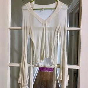 Free people white bell sleeved blouse